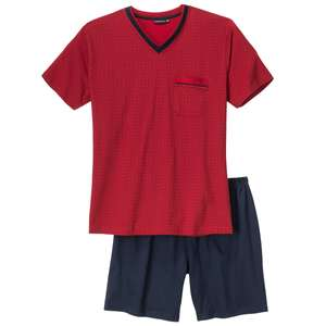 Götzburg XXL Pyjama Shorty rot-dunkelblau gemustert