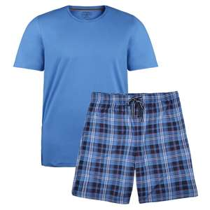 Jockey kurzer Pyjama mittelblau kariert Übergröße