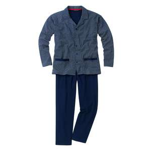 Götzburg Pyjama Alan in navy mit Muster Übergröße
