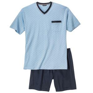 XXL Götzburg V-Neck Pyjama kurz hellblau gemustert