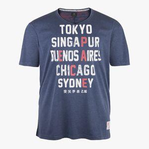 Kitaro cooles Vintage T-Shirt in blau melange