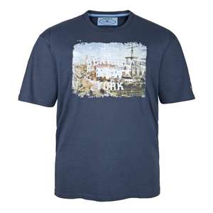 Redfield dunkelblaues T-Shirt mit Foto- und Flockdruck Old Seaport New York