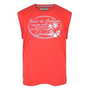 Redfield rotes Muskelshirt mit sommerlichem Print