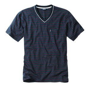 Ceceba V-Neck T-Shirt navy-rot gestreift Übergröße