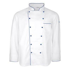XXL M&S Chefkochjacke weiß mit blauer Paspel