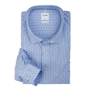Olymp bügelfreies Langarmhemd bleu gestreift mit Print