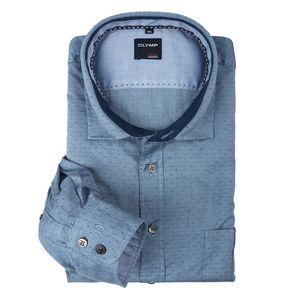 XXL Olymp Langarmhemd jeansblau mit Strukturkaros