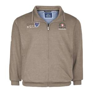 Modische Redfield XXL Sweatjacke taupe meliert