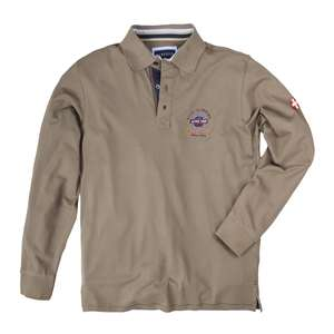 Redfield Langarm Poloshirt taupe mit Patch