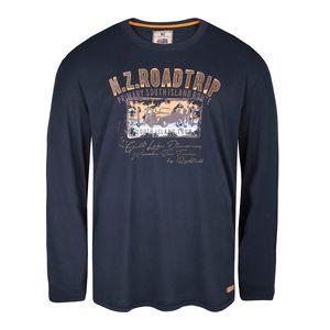 Redfield Langarmshirt mit Flockprint in navy