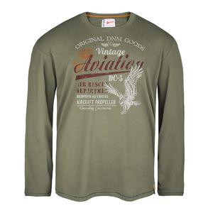Redfield Übergrößen Langarmshirt Vintage Print khaki