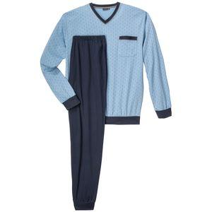 XXL Götzburg V-Neck Pyjama lang hellblau gemustert