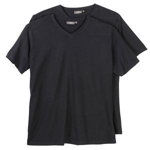 Doppelpack V-Neck T-Shirt Herren Kitaro Übergröße schwarz