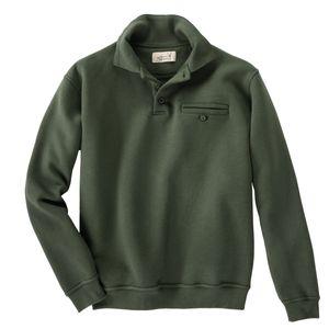 Hubertus Sweatshirt mit Polokragen oliv Übergröße