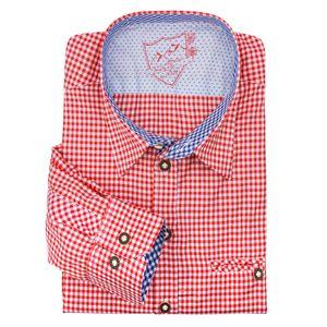 XXL Lekra Trachtenhemd rot-weiß kariert