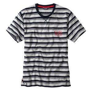 Ceceba Rundhals T-Shirt navy-grau gestreift Übergröße