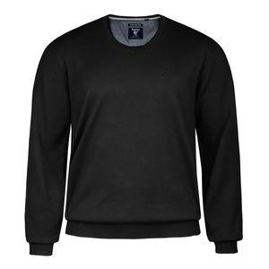 Hajo Übergrößen V-Neck Pullover Pima Cotton schwarz
