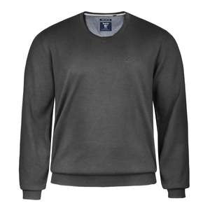 Hajo Pima Cotton V-Neck Pullover anthrazit meliert