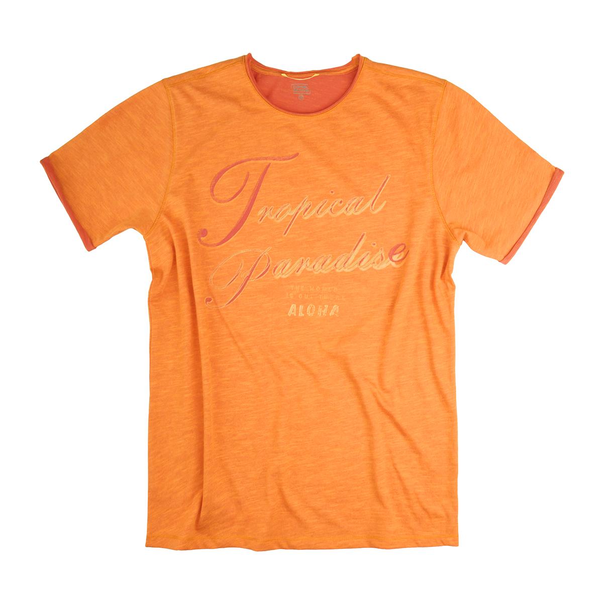 be3408c7c8576 Übergrößen Print T-Shirt orange meliert von Camel Active