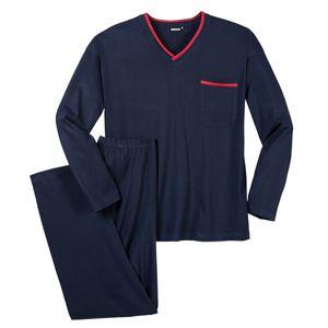 Adamo Schlafanzug navy mit V-Ausschnitt Übergröße