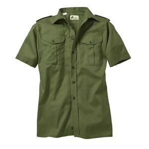 Skogen Jagdhemd oliv mit kurzem Arm Übergröße