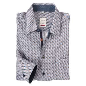 XXL Haupt Langarmhemd taubenblau-rost Alloverdruck