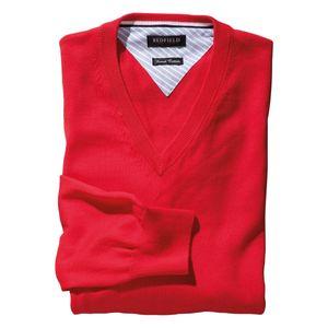 Redfield Feinstrick V-Neck Pullover Übergröße rot