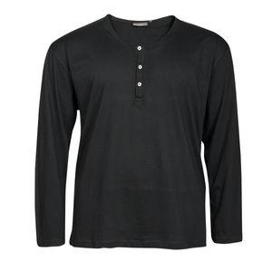 Basic Langarmshirt Serafino Übergröße schwarz Kitaro