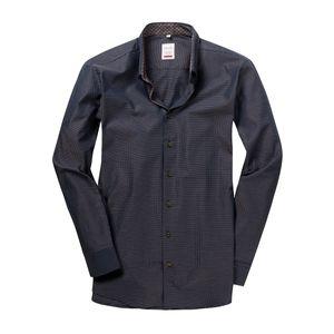 XXL Haupt Langarmhemd Mini-Muster schwarz-beige-terra