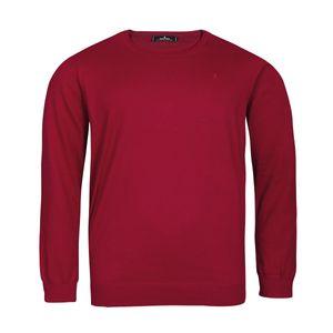 Ragman XXL Rundhals-Pullover karminrot melange