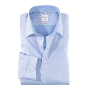 Olymp bügelfreies Langarmhemd hellblau modische Details