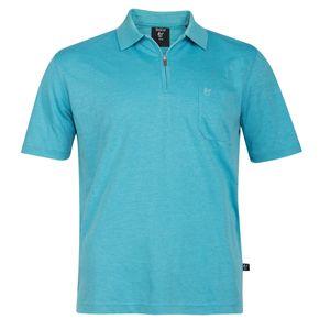 Hajo XXL Poloshirt Soft-Knit türkis melange