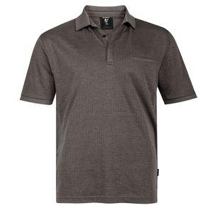 Hajo XXL Poloshirt Soft-Knit taupe dezent gemustert