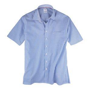 XXL Olymp Vichykaro Kurzarmhemd royalblau-weiß