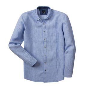 XXL Olymp Leinenhemd hellblau-weiß gestreift