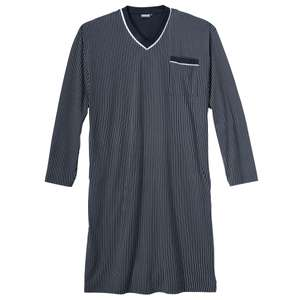 XXL Adamo V-Neck Langarm Nachthemd navy-weiß