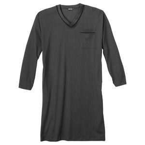 XXL Adamo V-Neck Langarm Nachthemd dunkelgrau-schwarz