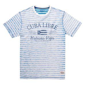 XXL Redfield blau-weiß gestreiftes T-Shirt mit Druck