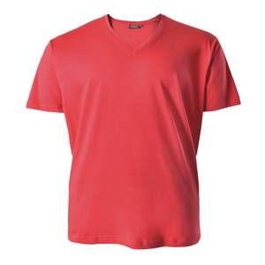 Redfield Basic T-Shirt erdbeerrot V-Neck XXL