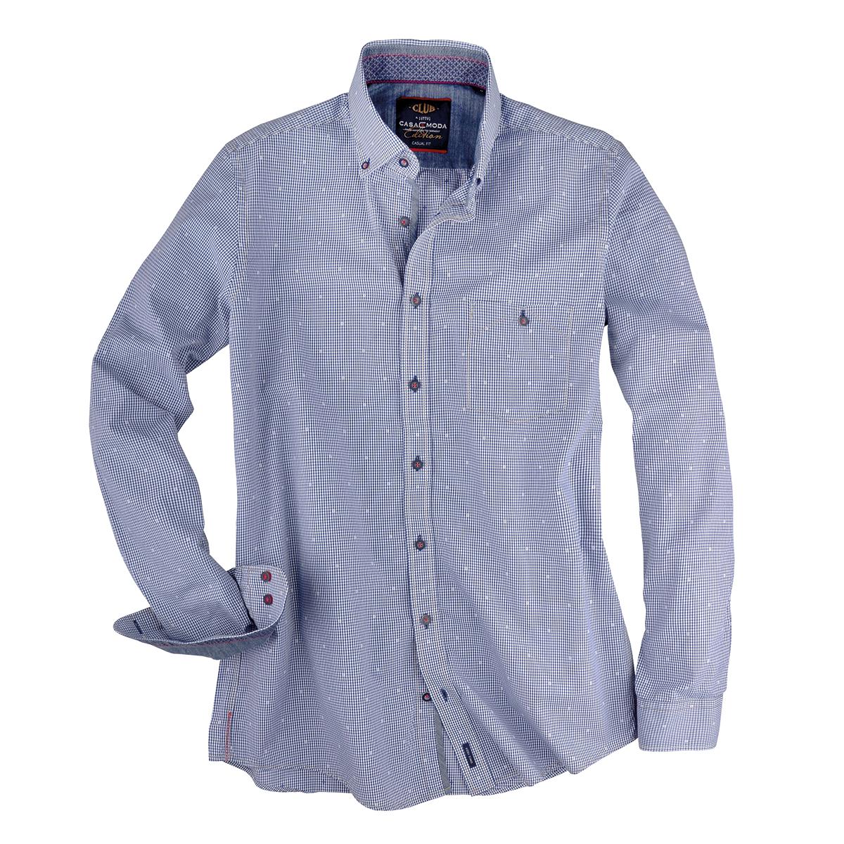 bergr en dobby langarmhemd mit vichykaro in blau wei. Black Bedroom Furniture Sets. Home Design Ideas