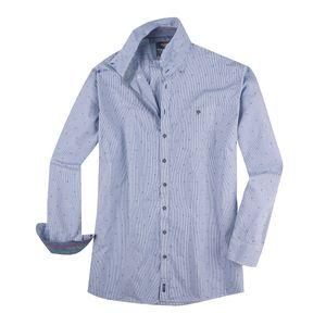 XXL Casa Moda Dobby-Hemd extra langer Arm marine-weiß