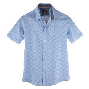 Casa Moda Kurzarmhemd Allover-Druck blau-weiß XXL