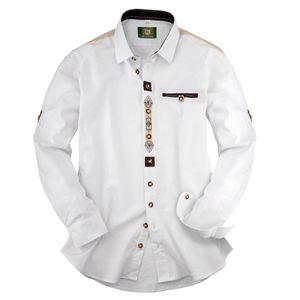 XXL Orbis Trachtenhemd weiß Krempelärmeln Stickerei