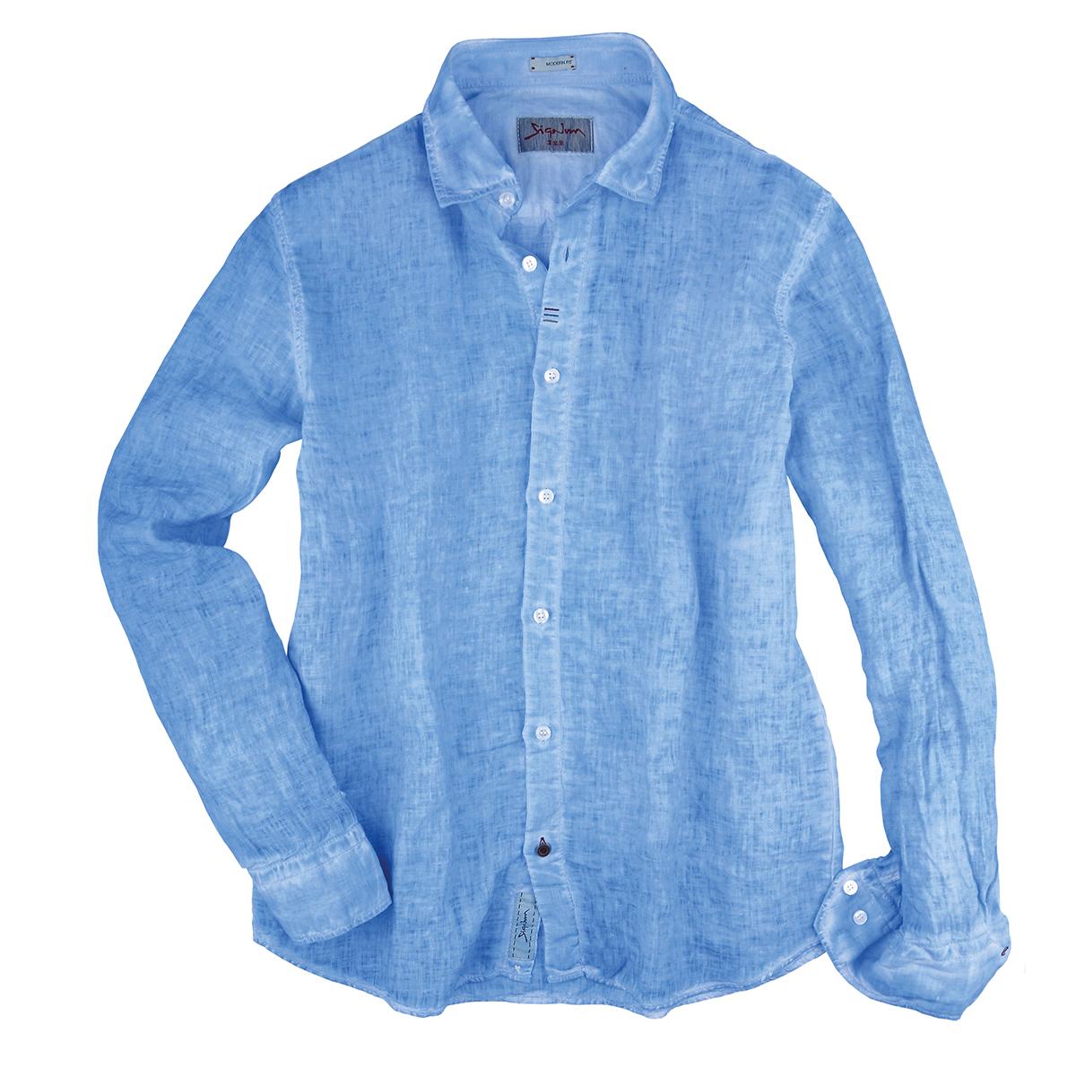 Übergrößen modisch gefärbtes Leinenhemd hellblau von Signum