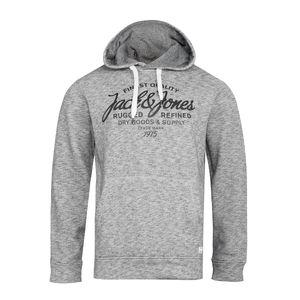 XXL Jack & Jones bedruckter Hoodie grau meliert
