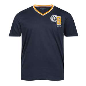 Kitaro V-Neck T-Shirt XXL navy Druck und Applikation