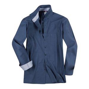 XXL Olymp Langarm Businesshemd indigoblau Struktur
