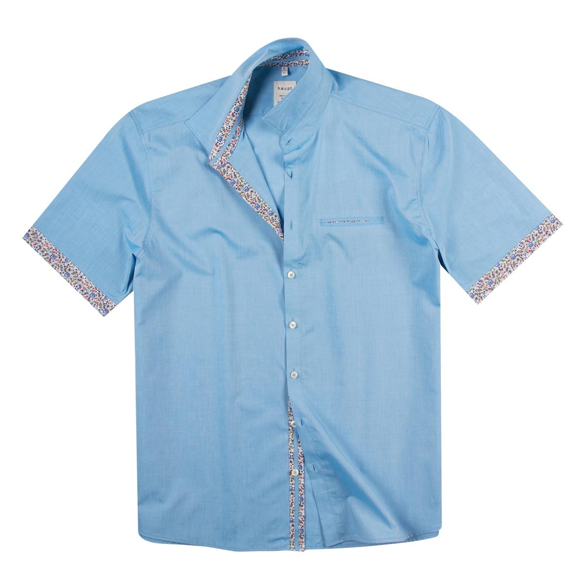 e6b3e8528880 Übergrößen Kurzarmhemd hellblau melange modische Details Haupt