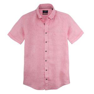 XXL CasaModa Leinen-Kurzarmhemd rosa