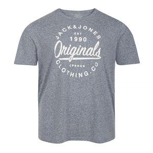 XXL Jack & Jones T-Shirt blau meliert Logodruck